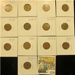 1232 _ (2) 1937P, D, S, 38P, D, S, 38S, (3) 39P, D, & (2) S Wheat Cents, most are VG to F. All carde