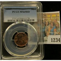 1234 _ 1947 P Lincoln Cent, PCGS slabbed MS65RD.
