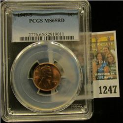 1247 _ 1949 S Lincoln Cent, PCGS slabbed MS65RD.