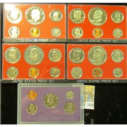 1332 _ 1975 S, 76 S, 77 S, 78 S, & 89 S U.S. Proof Sets. All original as issued.