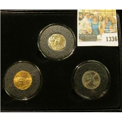 """1336 _ Encased Three-Piece Jefferson Nickel Set  """"2006 Return to Monticello"""", all 2006 P one of whic"""