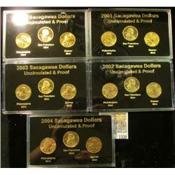 """1338 _ """"Sacagawea Dollar 2000-2001-2002-2003-2004"""" Five-cased sets each containing P, D, S coins, al"""