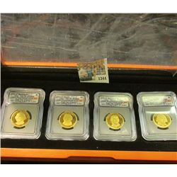1344 _ First Commemorative Mint Hard Wood Cased Set of slabbed Presidential Dollars. Includes 2007 S