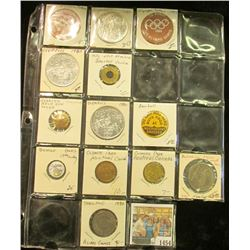 1454 _ 19-pocket plastic page containing 13 various Sports related pins, medals, or Good For Tokens.