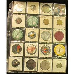 1455 _ 20-pocket plastic page containing 19 various Sports related pins, medals, or Good For Tokens.