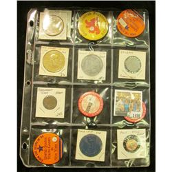 1456 _ 9-Pocket plastic page containing 10 various Sports related Pin-backs, gambling chips, medals,