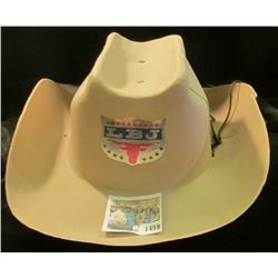 "1459 _ ""LBJ"" Plastic Western style Cowboy Campaign hat for a young boy. Damaged, but quite rare."