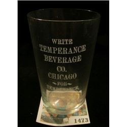 "1473 _ Old Temperance Shot Glass "" Etched Crystal. ""Write Temperance Beverage Co. Chicago For Temper"