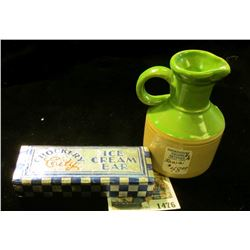 "1476 _ Iowa Stoneware Pitcher. 3 1/4"" height; & a wrapper ""Crockery City Ice Cream Bar""."