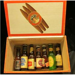 "1481 _ ""Florodora for 10 Cent Cigars"" Wooden Cigar Box containing numerous miniature Whiskey Bottles"