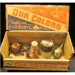 "1484 _ Large Wooden Cigar Box for 200 Cigars labeled ""Our Colors Three for Five Cents"", ""Factory No."