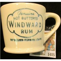 "1485 _ Stoneware handled Mug ""Genuine Hot Buttered Windward Rum 88# Brown-Forman, Lou.,Ky."""