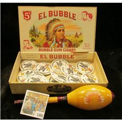 "1491 _ ""El Bubble Bubble Gum Cigars 5c"" empty Box depicting Indian Chief; Wooden Rattle; & (11) ""Uni"