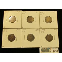 1493 _ 1892, 93, 95, 96, 97, & 98 Indian Head Cents in Good to EF. Priced to sell at over $30.00.