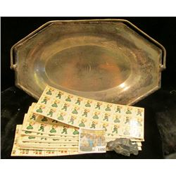 "1498 _ ""Sheffield Plate"" Handled Silvered Tray; group of 1956 & 60 Chirstmas Seals in unused but mos"