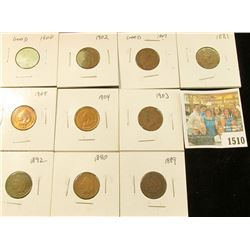 1510 _ 1881, 89. 90, 92, 1900, 01, 02, 03, 04, & 05 Carded and ready to sell Indian Head Cents. (10