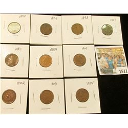 1511 _ 1881, 89. 91, 93, 94, 1901, 02, 03, 05, & 07 Carded and ready to sell Indian Head Cents. (10