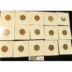 1512 _ (2) 1901, 02, 03, (2) 05, (5) 07, (3) 08, & 09 Carded and ready to sell Indian Head Cents. (1