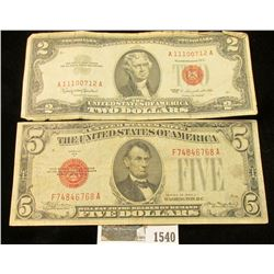 """1540 _ $2 Series 1963 & Series 1928C $5 both """"Red Seals"""" United States Notes."""