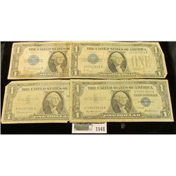 1548 _ Series 1928A, B, & Series 1957, & 57B $1 U.S. Silver Certificates. (total of 4 notes).