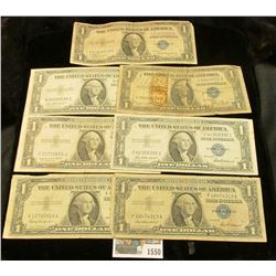 1550 _ Series 1935A, 35D, 35E, 35F, 35G, 1957, & 57B U.S. $1 Silver Certificates. (total of 7 notes)
