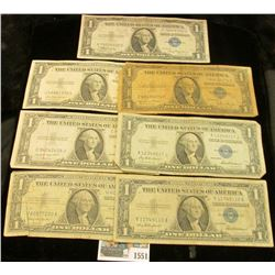 1551 _ Series 1935A, 35D, 35E, 35F, 35G, 1957, & 57B U.S. $1 Silver Certificates. (total of 7 notes)