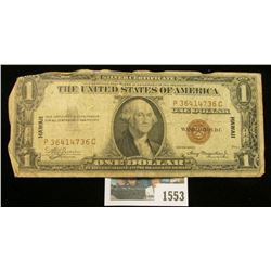 "1553 _ Series 1935A One Dollar ""Hawaii"" Silver Certificate. Has the Emergency ""Hawaii"" over print."
