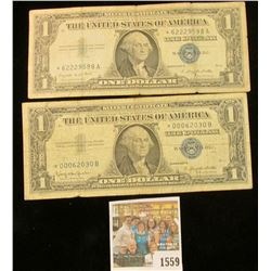 1559 _ (2) Series 1957, 57A & Series 57B Star Replacement One Dollar Silver Certificates. (4 notes).