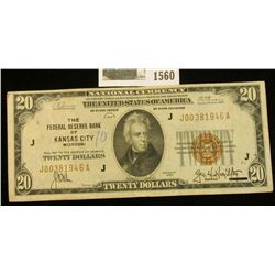 "1560 _ Series of 1929 $20 National Currency ""The Federal Reserve Bank of Kansas City, Missouri"", nic"