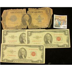 "1561 _ Series of 1923 One Dollar ""Blanket"" Silver Certificate, ragged; & Series 1953, 53A, & 53B $5"