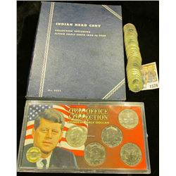 "1576 _ Blue Whitman folder containing an 1898 Indian Head Cent; ""Oval Office Collection Kennedy Half"