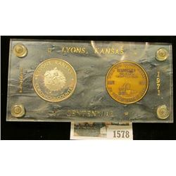"1578 _ 1871-1971 ""Lyons, Kansas Centennial"" Serial no. 176 two-piece Medal Set in a special holder w"
