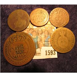 1593 _ (5) Interesting 1700 era Coins including a large Brazilian coin with a countermark.
