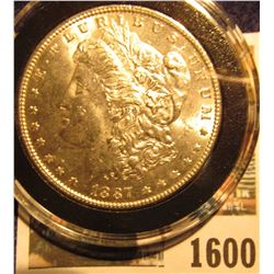 1600 _ 1887 P Brilliant Uncirculated Morgan Silver Dollar stored in an Airtight holder.