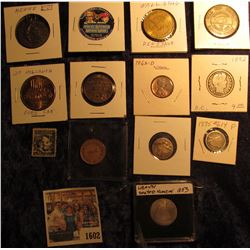 1602 _ (6) Old tokens and medals; 1962D Cent; 1892 P Barber Quarter; Old Lincoln 4c Stamp; Russian C
