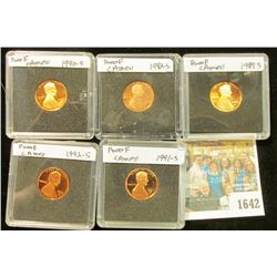 1642 _ 1982 S, 89 S, 90 S, 91 S, & 92 S  Proof Lincoln Cents in special holders.