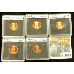 1643 _ 1993 S, 94 S, 95 S, 96 S, & 97 S  Proof Lincoln Cents in special holders.