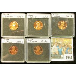 1644 _ 1998 S, 99 S, 2000 S, 2001 S, & 2002 S  Proof Lincoln Cents in special holders.
