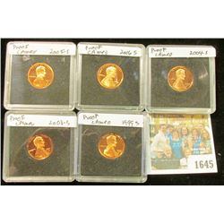 1645 _ 1999 S, 2003 S, 2004 S, 2005 S, & 2006 S  Proof Lincoln Cents in special holders.