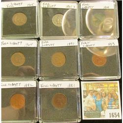 1654 _ 1881, 1882, 1891, 1893, 1900, 01, 04, & 05 Indian Cents, all VF+ to EF. Full Liberty with par