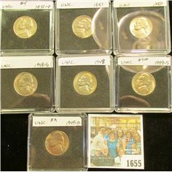 1655 _ 1948S, 49P, D, S, 50P, 51P, & D Jefferson Nickels. All Gem BU and stored in special holders.