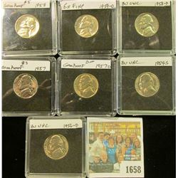 1658 _ 1954S, 56D, 57P, D, 58P, D, & 59D Jefferson Nickels. All Gem BU and stored in special holders