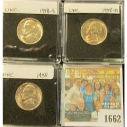 1662 _ Holy Shield Nickel with a central hole; 1895, 1910, & 12D Liberty Nickels; 1939P Gem BU, 40D