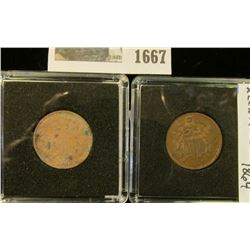 1667 _ 1864 & 1865 U.S. Civil War Era Two Cent Pieces. Both in special holders.
