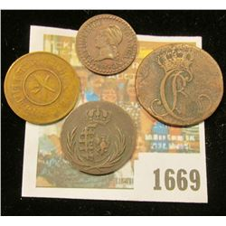1669 _ (4) Old Copper Coins, including dates 1787 & 1811.