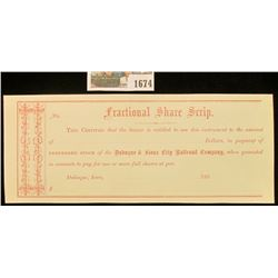 """1674 _ 1860 """"Fractional Share Scrip…Preferred Stock of the Dubuque & Sioux City Railroad Company"""". M"""