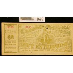 """1676 _ 1876 Scrip """"L.D. Sine's 22nd Grand Annual Gift Enterprise"""" Two Dollar note, Serial No. 8133."""