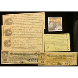 """1679 _ (2) different 1890 """"Denver State Lottery"""" Colorado Tickets; (3) different pieces of early 190"""