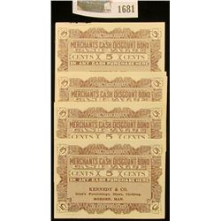 """1681 _ (5) Mint condition 1924 """"5c Merchants Cash Discount"""" scrip from """"Kennedy & Co. Gent's Furnish"""
