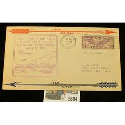 """1684 _ """"First Flight Air Mail Route AM 2 P.O.D. Memphis, Tennessee July 20 1931"""", """"First Direct Over"""